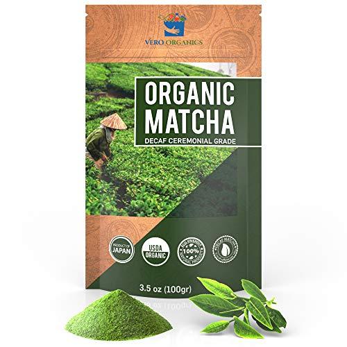 Matcha Green Tea Powder – Organic Premium Decaf Ceremonial Grade – Value Size 3.5oz 100g