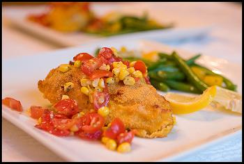 IBS Cornmeal Encrusted Chicken with Salsa Lunch
