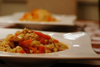 IBS Garlic Chicken Risotto with Carrots Lunch