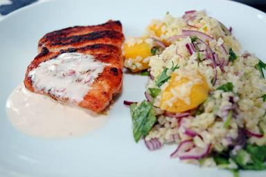 IBS Salmon with Yellow Pepper Couscous Dinner