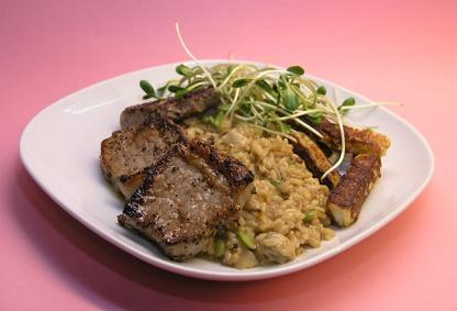 IBS Steak with Broad Bean Risotto Dinner